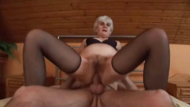 Agile Grey Haired Granny in Stockings Fucks