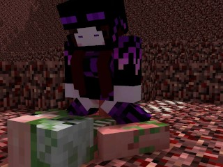 Minecraft Endie in the Nether [Endie X Zombie Pigman]