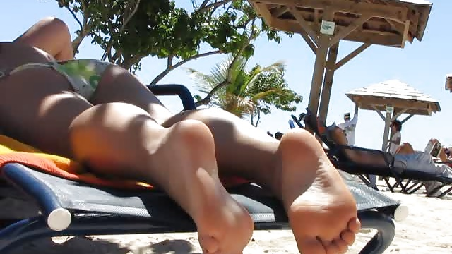soles feet at the beach in guadeloupe